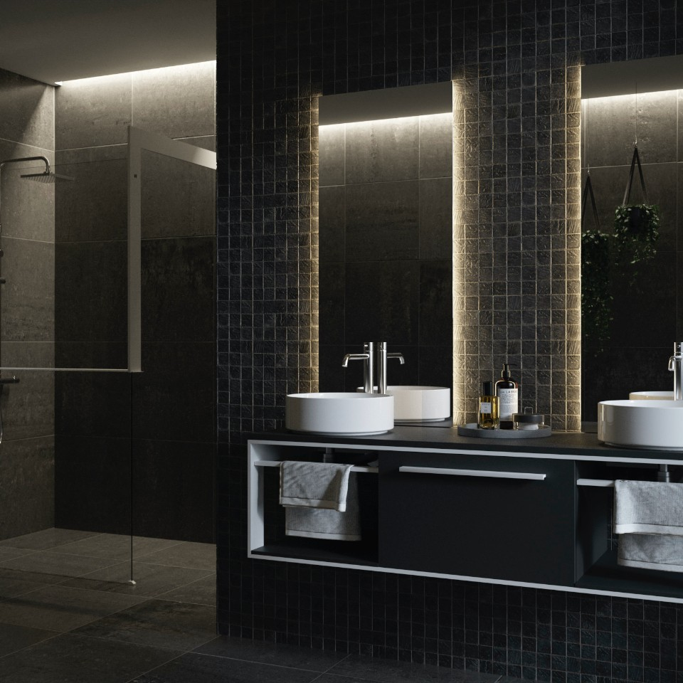 Style and uniformity fuse together in the Iotti by Novellini Centimetro and Frame bathroom furniture collections
